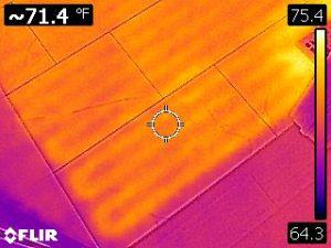 Infrared of radiant floor heat coils