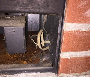 Live abandoned electrical below firebox